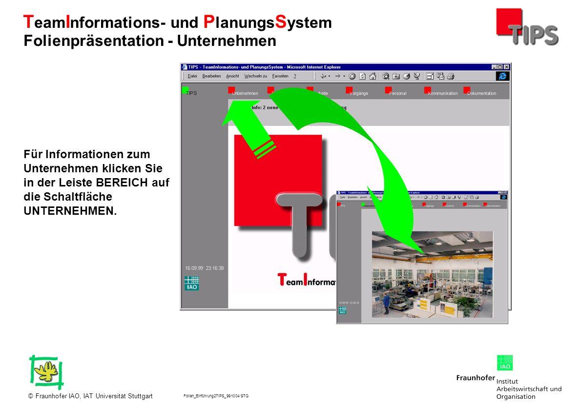 Folien_Einführung2TIPS_991004/STG Fraunhofer IAO, IAT Universität Stuttgart© T eam I nformations- und P lanungs S ystem Über die Leiste DETAIL haben Sie Zugang zu verschiedenen Auflistungen aktueller, archivierter, verfaßter etc.