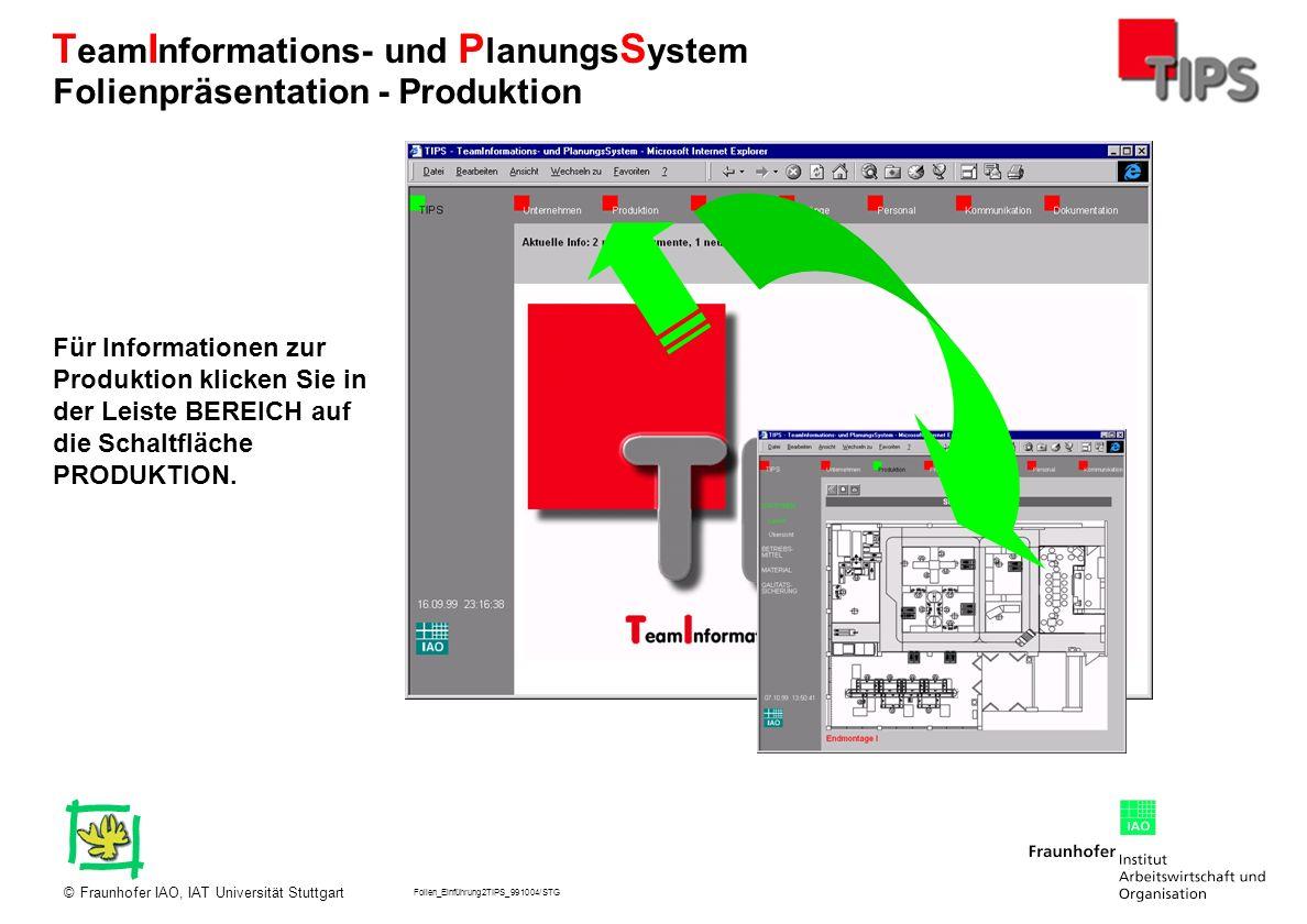 Folien_Einführung2TIPS_991004/STG Fraunhofer IAO, IAT Universität Stuttgart© T eam I nformations- und P lanungs S ystem Für Informationen zur Produkti