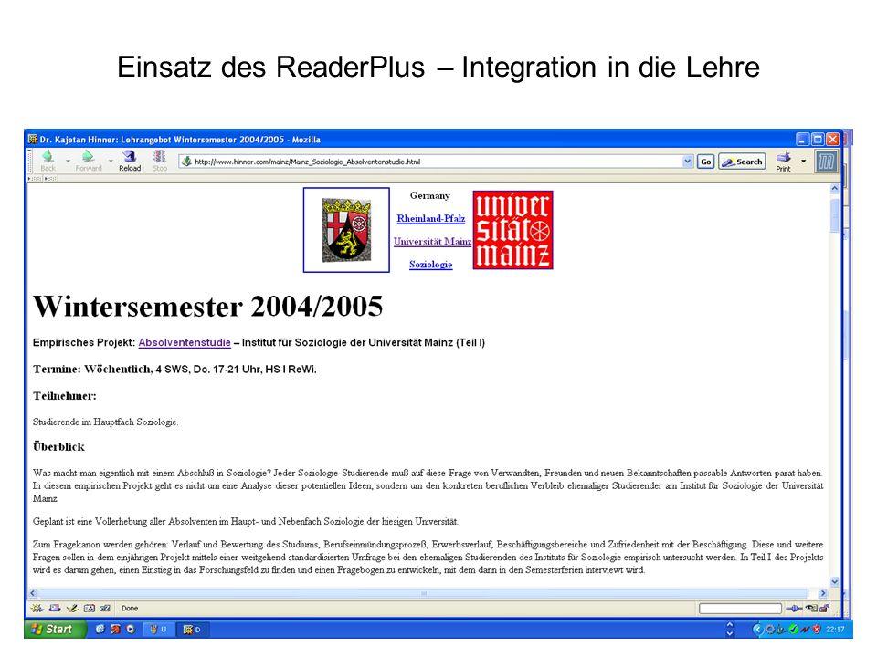 Einsatz des ReaderPlus – Integration in die Lehre