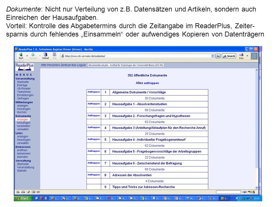 Dokumente: Nicht nur Verteilung von z.B.