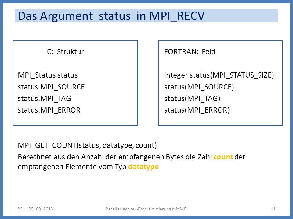 Das Argument status in MPI_RECV C: StrukturFORTRAN: Feld MPI_Status statusinteger status(MPI_STATUS_SIZE) status.MPI_SOURCEstatus(MPI_SOURCE) status.MPI_TAG status(MPI_TAG) status.MPI_ERROR status(MPI_ERROR) MPI_GET_COUNT(status, datatype, count) Berechnet aus den Anzahl der empfangenen Bytes die Zahl count der empfangenen Elemente vom Typ datatype Parallelrechner-Programmierung mit MPI1123.