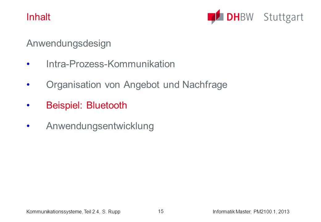 Informatik Master, PM2100.1, 2013Kommunikationssysteme, Teil 2.4, S. Rupp 15 Inhalt Anwendungsdesign Intra-Prozess-Kommunikation Organisation von Ange