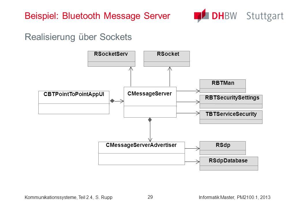 Informatik Master, PM2100.1, 2013Kommunikationssysteme, Teil 2.4, S. Rupp 29 Beispiel: Bluetooth Message Server Realisierung über Sockets RSocketServR