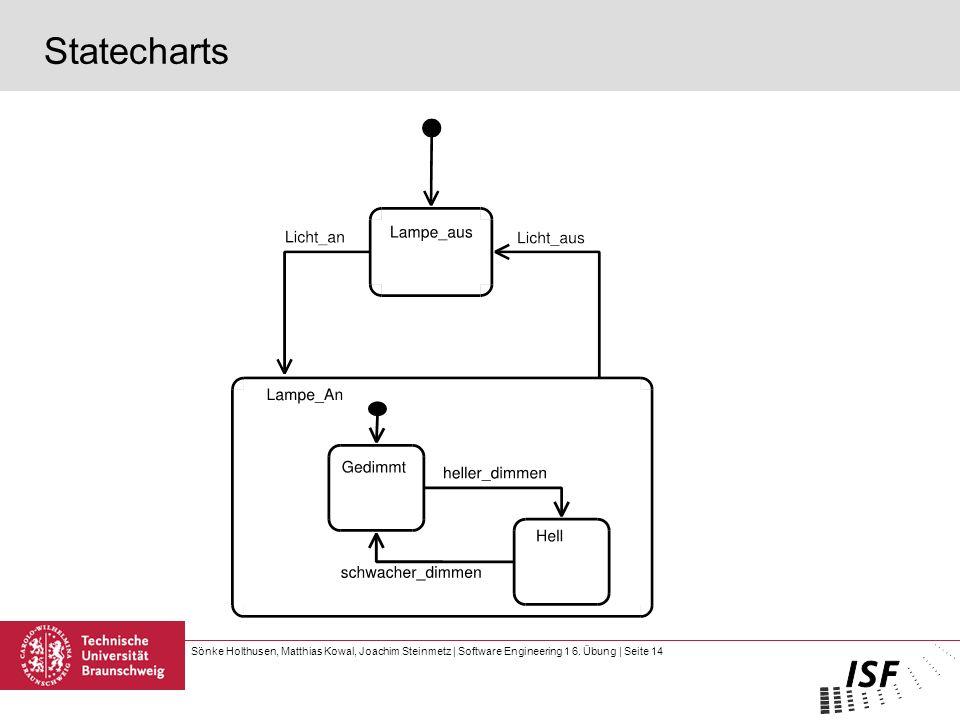 Sönke Holthusen, Matthias Kowal, Joachim Steinmetz | Software Engineering 1 6. Übung | Seite 14 Statecharts
