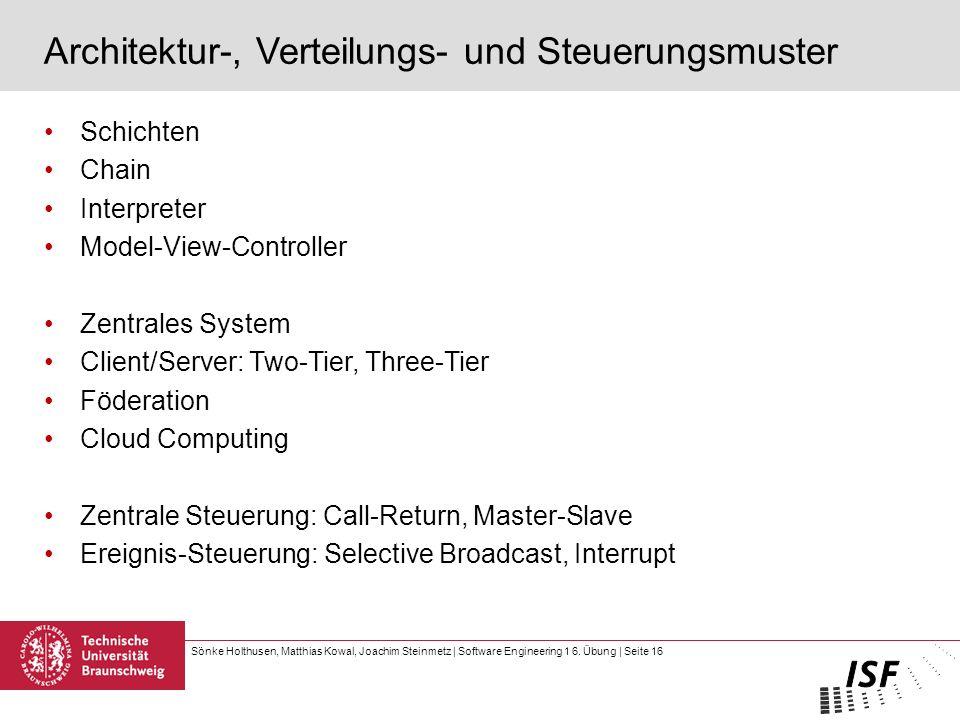Sönke Holthusen, Matthias Kowal, Joachim Steinmetz | Software Engineering 1 6. Übung | Seite 16 Architektur-, Verteilungs- und Steuerungsmuster Schich