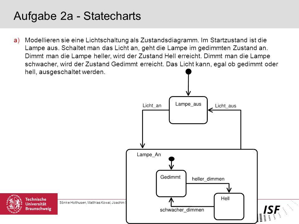 Sönke Holthusen, Matthias Kowal, Joachim Steinmetz | Software Engineering 1 6. Übung | Seite 2 Aufgabe 2a - Statecharts a)Modellieren sie eine Lichtsc