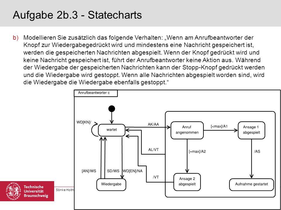 Sönke Holthusen, Matthias Kowal, Joachim Steinmetz | Software Engineering 1 6. Übung | Seite 5 Aufgabe 2b.3 - Statecharts b)Modellieren Sie zusätzlich