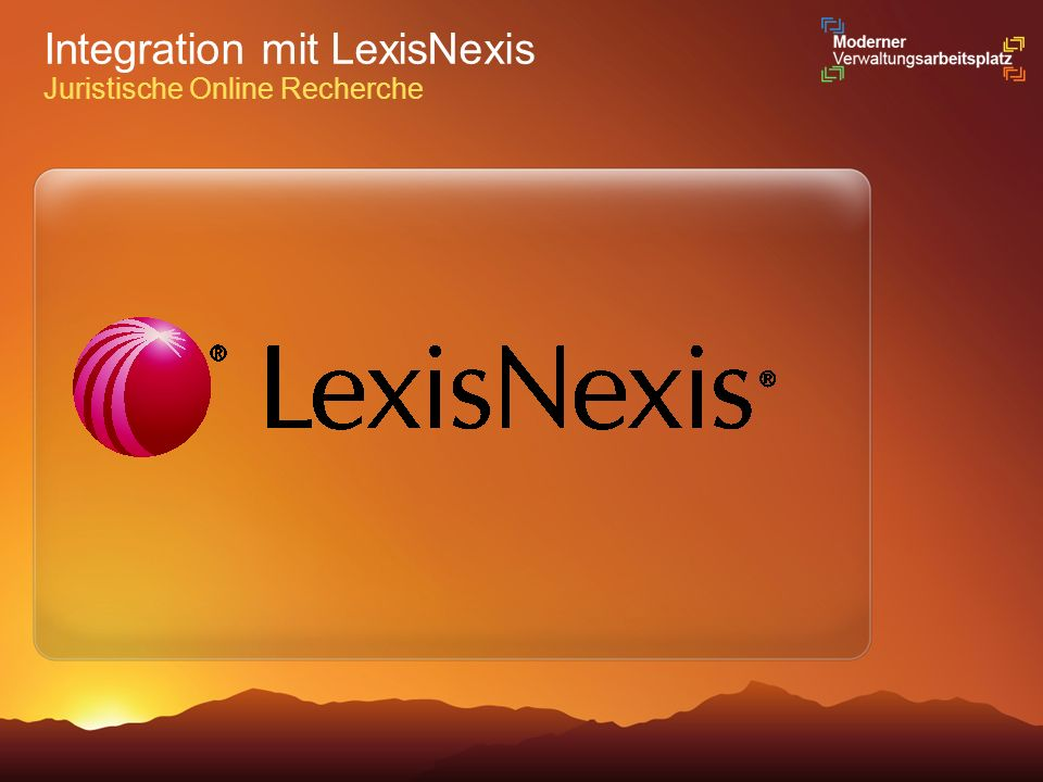 Integration mit LexisNexis Juristische Online Recherche