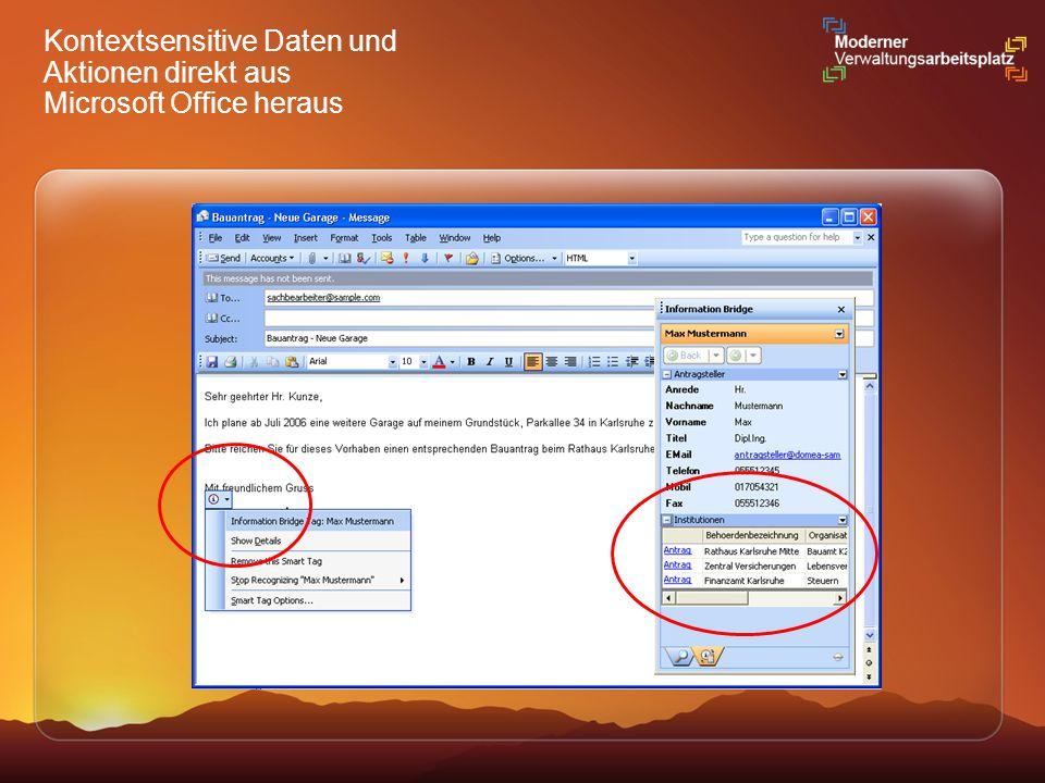 Kontextsensitive Daten und Aktionen direkt aus Microsoft Office heraus