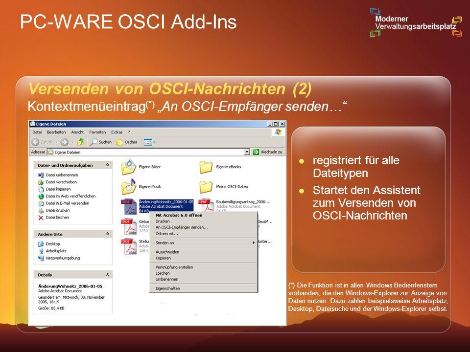 PC-WARE OSCI Add-Ins Versenden von OSCI-Nachrichten (2) Kontextmenüeintrag (*) An OSCI-Empfänger senden… (*) Die Funktion ist in allen Windows Bedienf