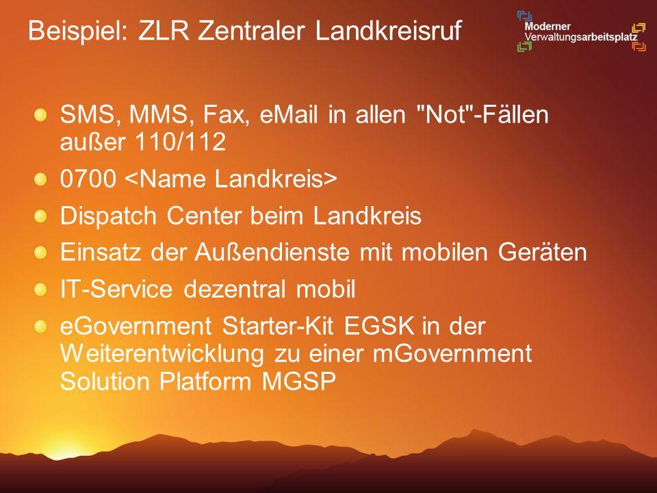 Beispiel: ZLR Zentraler Landkreisruf SMS, MMS, Fax, eMail in allen