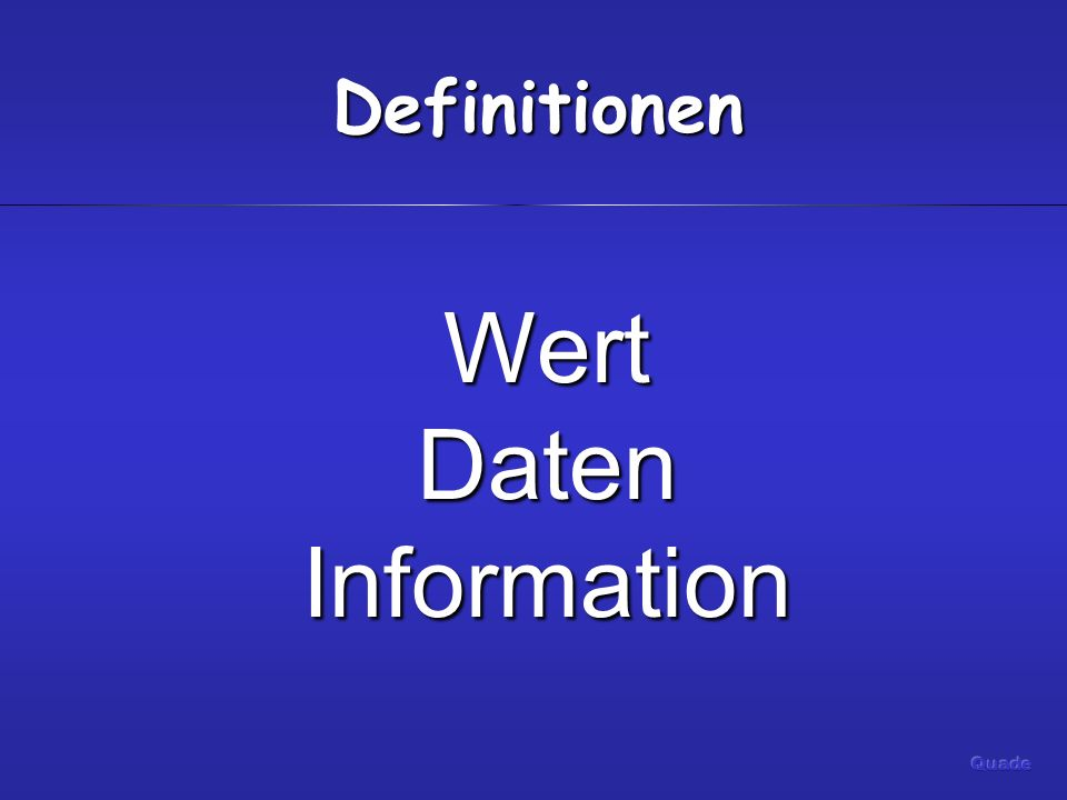 Definitionen WertDatenInformation