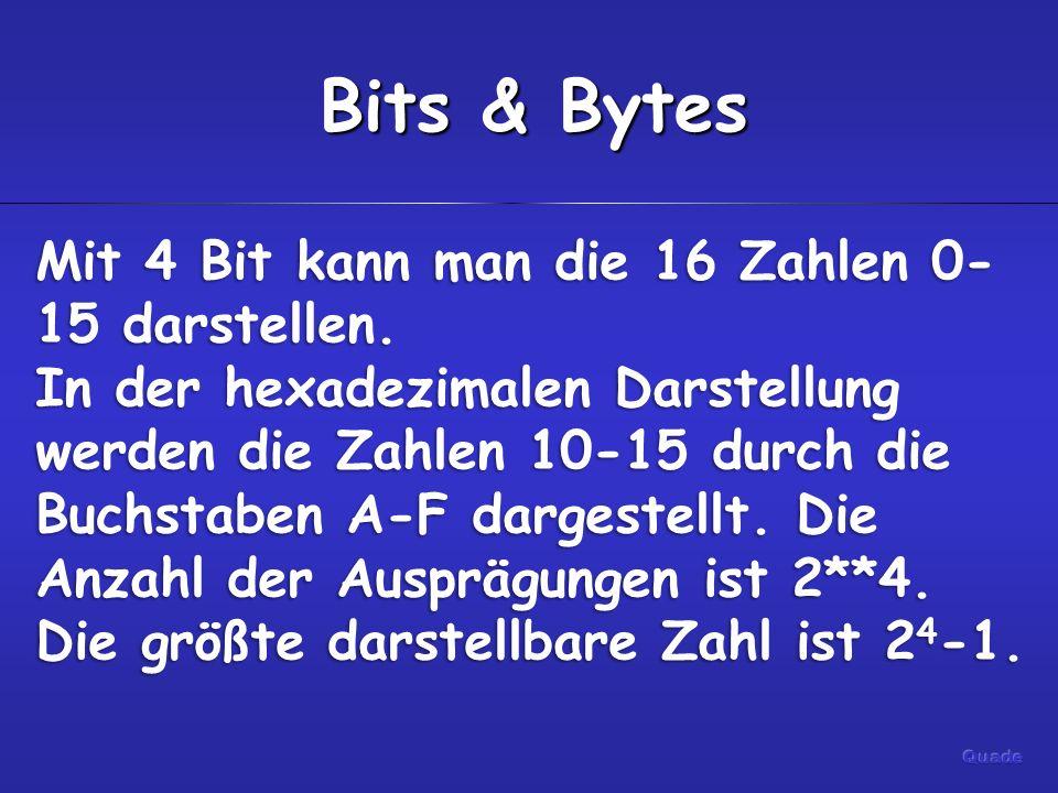 Bits & Bytes Mit 4 Bit kann man die 16 Zahlen 0- 15 darstellen.
