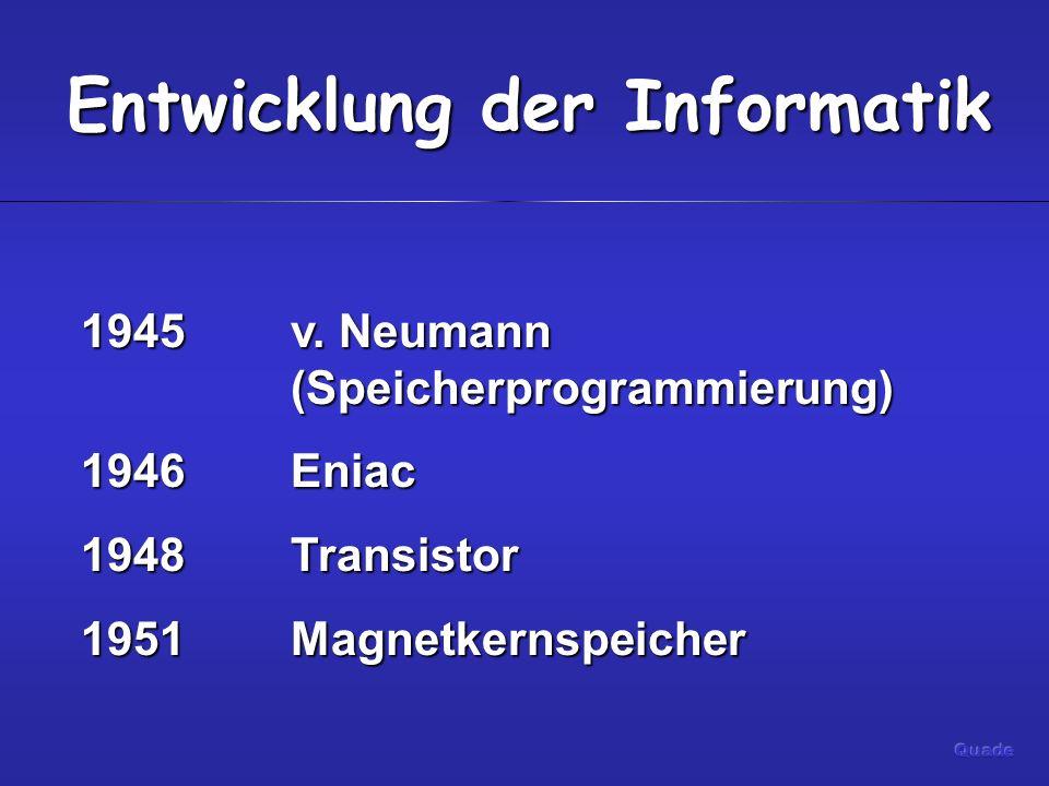 Entwicklung der Informatik 1954Fortran 1958 Transistorrechner 1960IC Ende 1970PC Anfang 1980IBM PC