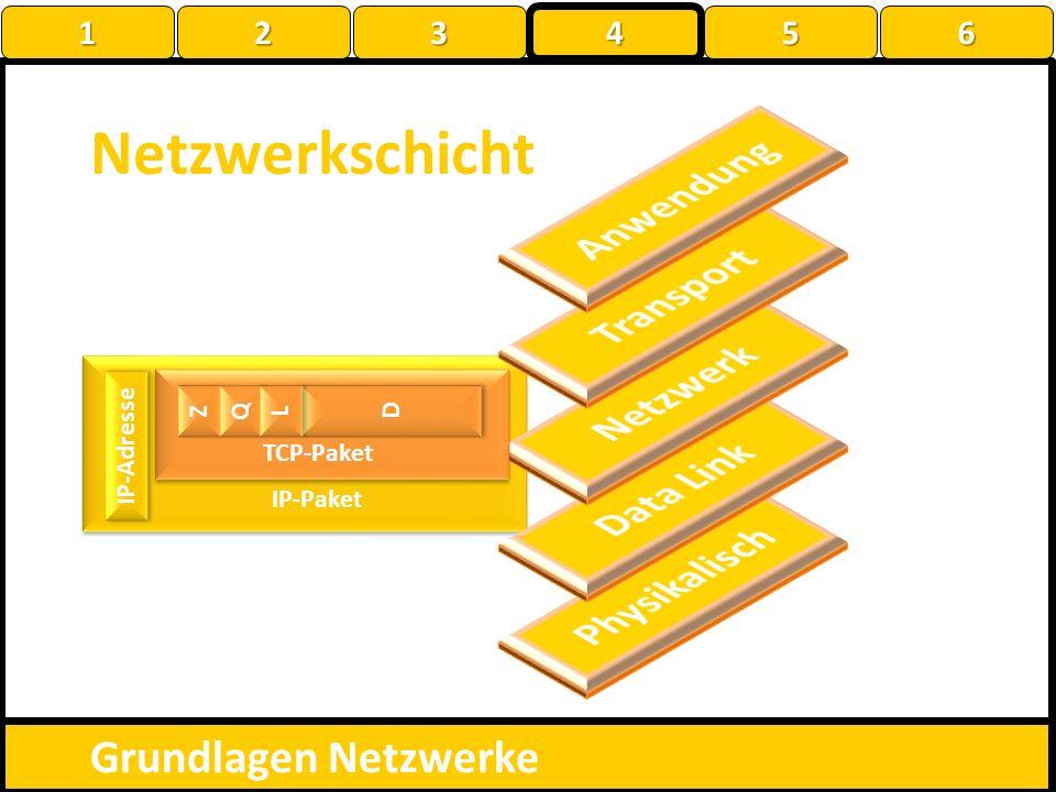 Netzwerkschicht Grundlagen Netzwerke IP-Paket Z Z Q Q D D L L TCP-Paket IP-Adresse 1 22223 4 56