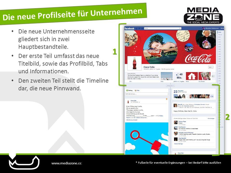 www.mediazone.cc * Fußzeile für eventuelle Ergänzungen – bei Bedarf bitte ausfüllen Die neue Unternehmensseite gliedert sich in zwei Hauptbestandteile.