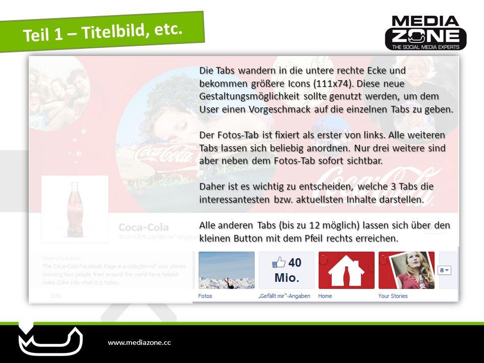 www.mediazone.cc Teil 1 – Titelbild, etc. Die Tabs wandern in die untere rechte Ecke und bekommen größere Icons (111x74). Diese neue Gestaltungsmöglic