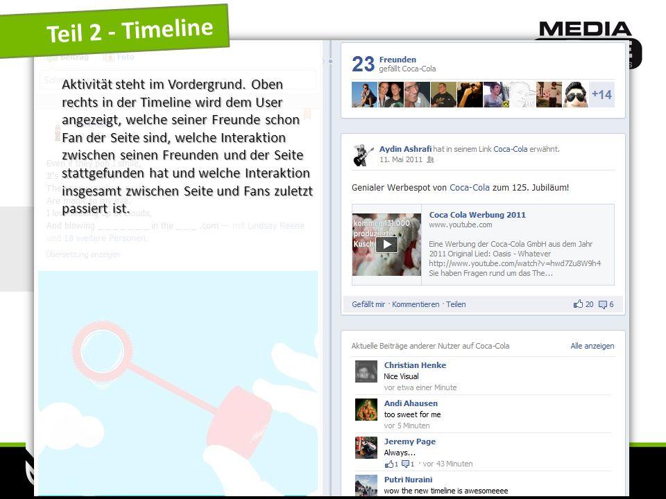 www.mediazone.cc Teil 2 - Timeline Aktivität steht im Vordergrund. Oben rechts in der Timeline wird dem User angezeigt, welche seiner Freunde schon Fa