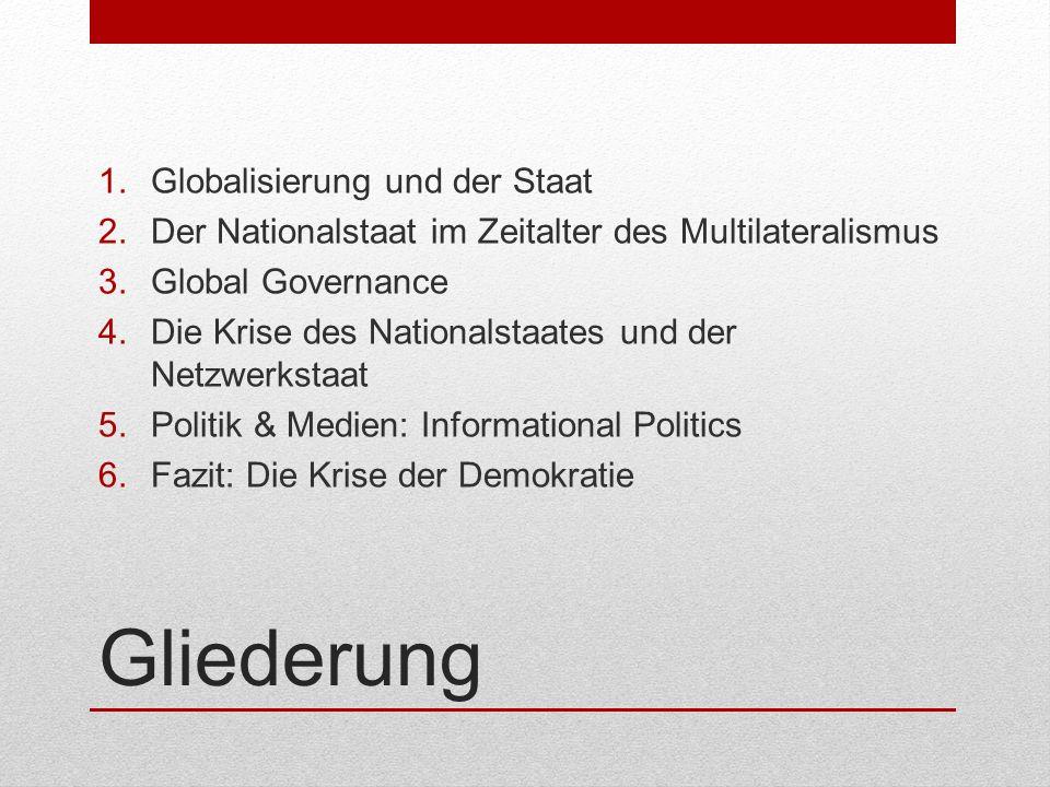 Gliederung 1.Globalisierung und der Staat 2.Der Nationalstaat im Zeitalter des Multilateralismus 3.Global Governance 4.Die Krise des Nationalstaates u