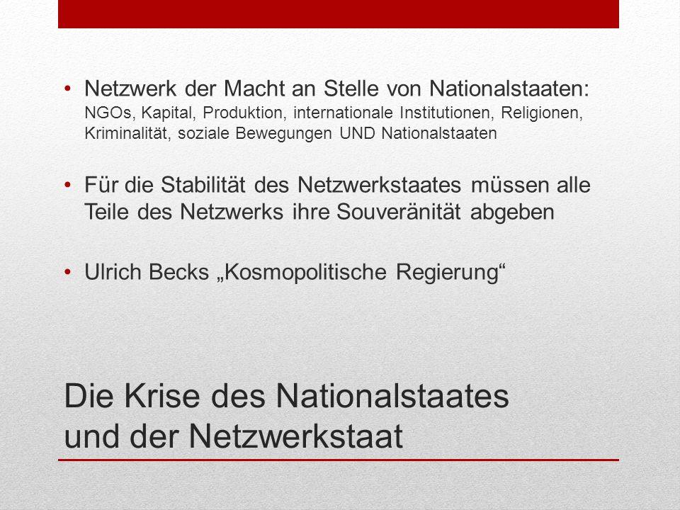 Die Krise des Nationalstaates und der Netzwerkstaat Netzwerk der Macht an Stelle von Nationalstaaten: NGOs, Kapital, Produktion, internationale Instit