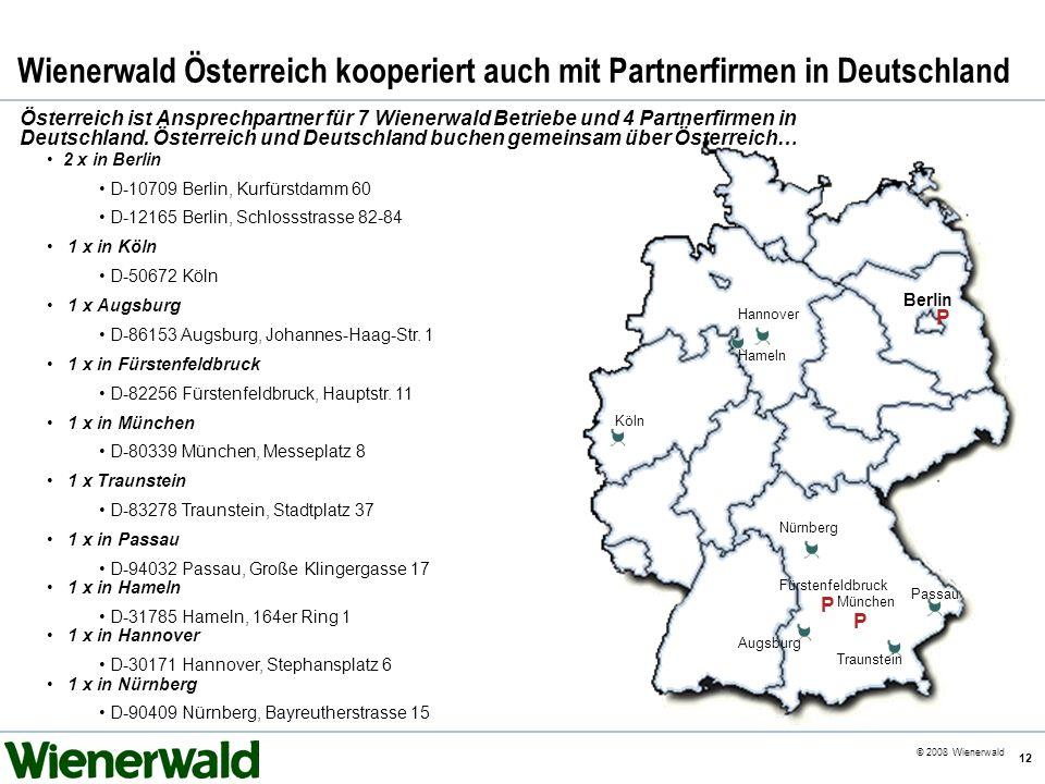 CE v5.8 © 2008 Wienerwald 12 Wienerwald Österreich kooperiert auch mit Partnerfirmen in Deutschland Österreich ist Ansprechpartner für 7 Wienerwald Be