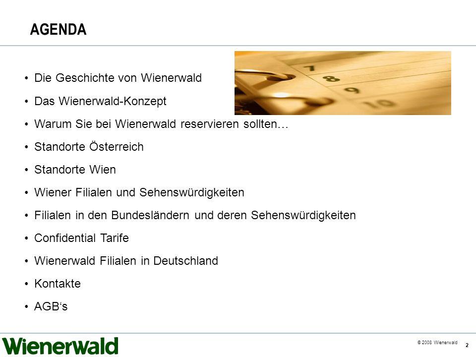 CE v5.8 © 2008 Wienerwald 2 AGENDA Die Geschichte von Wienerwald Das Wienerwald-Konzept Warum Sie bei Wienerwald reservieren sollten… Standorte Österr