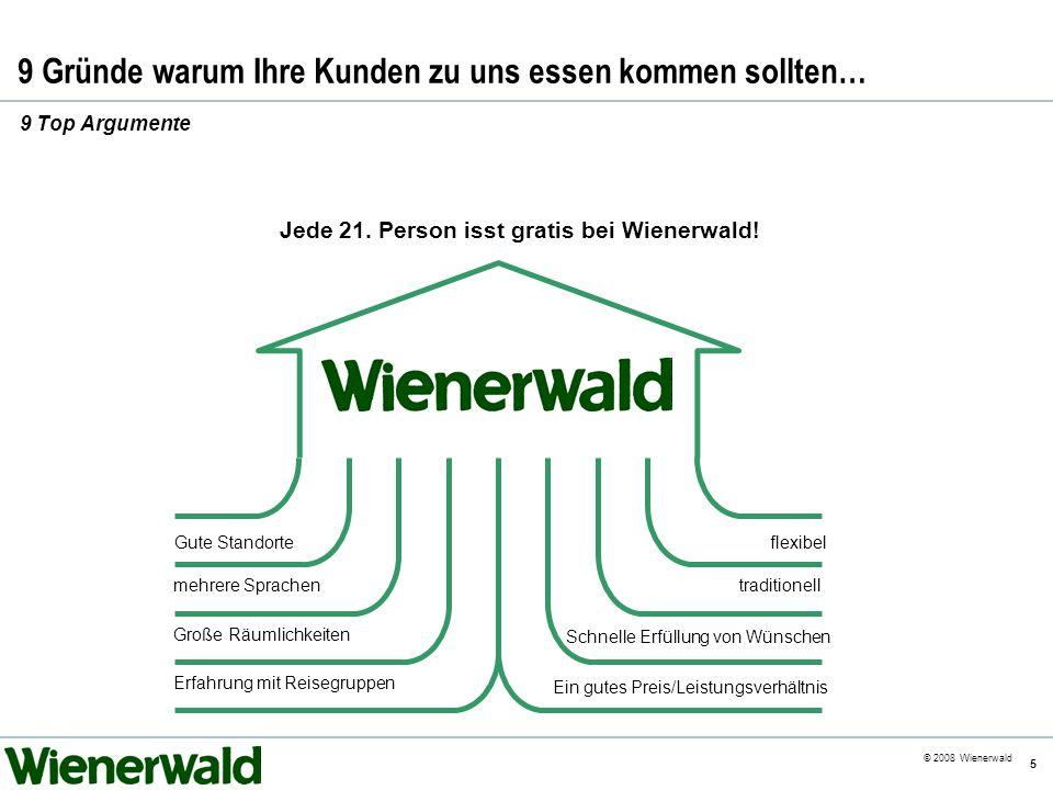 CE v5.8 © 2008 Wienerwald 5 9 Gründe warum Ihre Kunden zu uns essen kommen sollten… 9 Top Argumente Ein gutes Preis/Leistungsverhältnis traditionellme