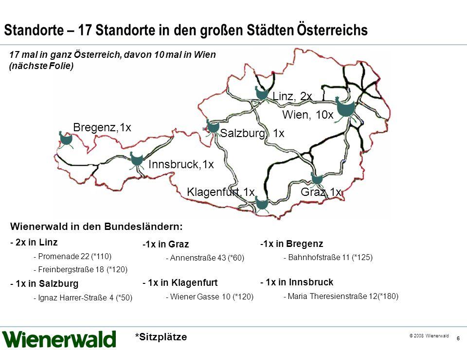 CE v5.8 © 2008 Wienerwald 6 Wien, 10x Linz, 2x Salzburg, 1x Innsbruck,1x Bregenz,1x Klagenfurt,1xGraz,1x 17 mal in ganz Österreich, davon 10 mal in Wi