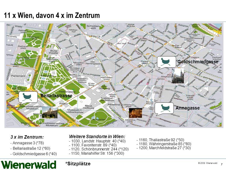 CE v5.8 © 2008 Wienerwald 7 11 x Wien, davon 4 x im Zentrum 3 x im Zentrum: - Annagasse 3 (*78) - Bellariastraße 12 (*60) - Goldschmiedgasse 6 (*40) W
