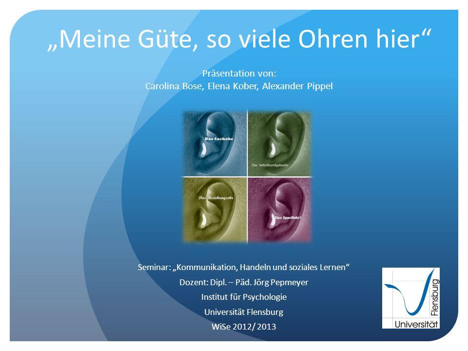 Meine Güte, so viele Ohren hier Präsentation von: Carolina Bose, Elena Kober, Alexander Pippel Seminar: Kommunikation, Handeln und soziales Lernen Doz