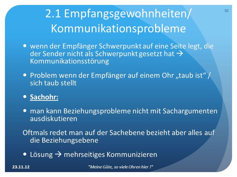 2.1 Empfangsgewohnheiten/ Kommunikationsprobleme wenn der Empfänger Schwerpunkt auf eine Seite legt, die der Sender nicht als Schwerpunkt gesetzt hat