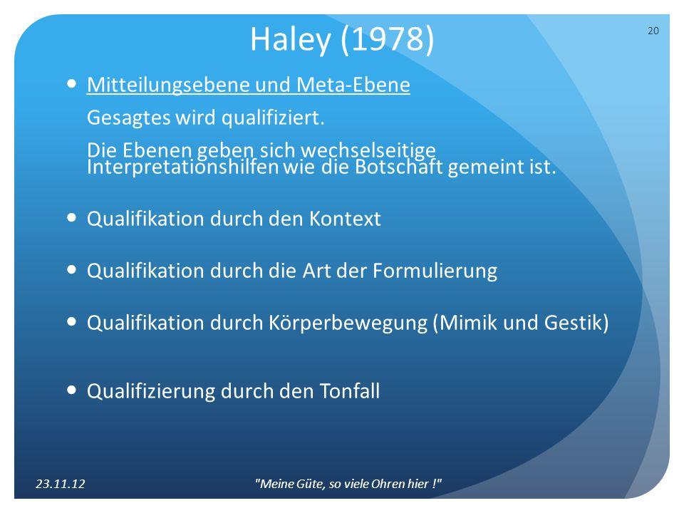Haley (1978) Mitteilungsebene und Meta-Ebene Gesagtes wird qualifiziert. Die Ebenen geben sich wechselseitige Interpretationshilfen wie die Botschaft