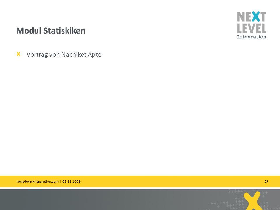 35 Vortrag von Nachiket Apte Modul Statiskiken next-level-integration.com | 02.11.2009