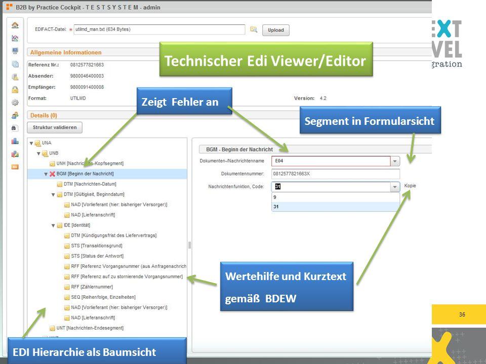 36 next-level-integration.com | next level portals – next level search – next level ccm – b2b by practice Zeigt Fehler an Wertehilfe und Kurztext gemä