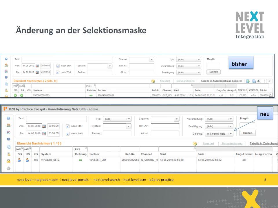 29 Status Gelb: Antworten stehen noch aus, sonst technisch alles ok Beispiel: INVOIC-REMADV Abgleich next-level-integration.com | 02.11.2009