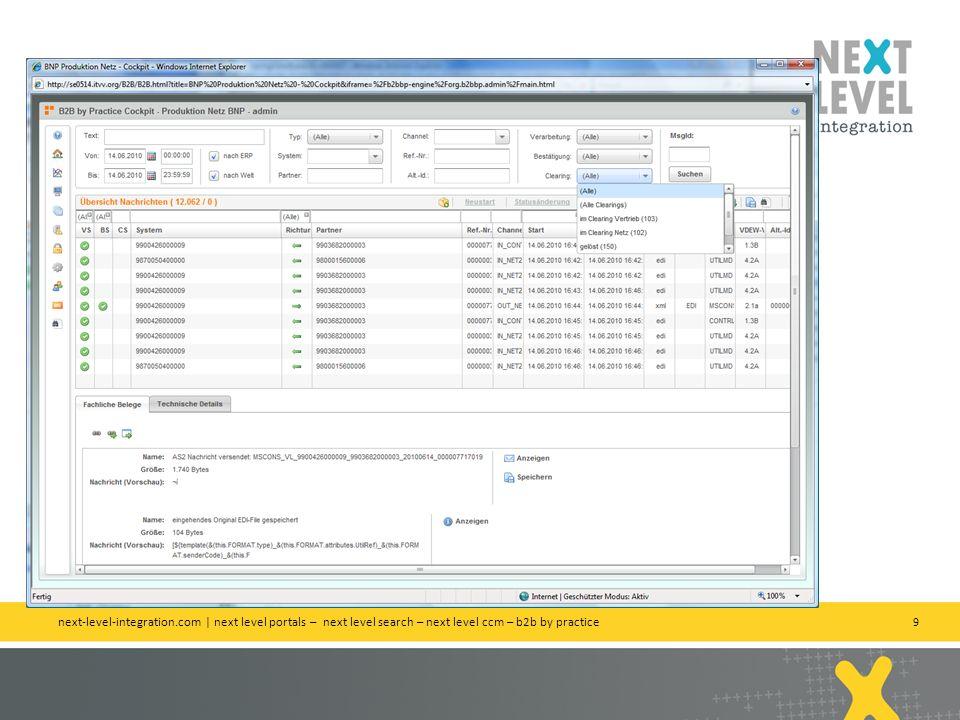 10 Clearing Codes können Sie selber vergeben next-level-integration.com | next level portals – next level search – next level ccm – b2b by practice