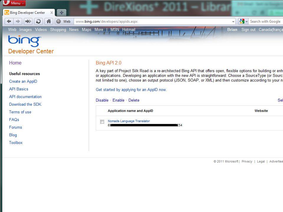 DireXions + 2011 – Library Language Translation Übersetzungsfenster