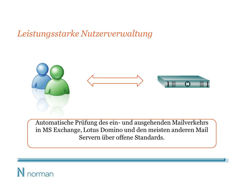 Leistungsstarke Nutzerverwaltung Automatische Prüfung des ein- und ausgehenden Mailverkehrs in MS Exchange, Lotus Domino und den meisten anderen Mail Servern über offene Standards.