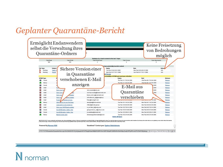 Geplanter Quarantäne-Bericht Ermöglicht Endanwendern selbst die Verwaltung ihres Quarantäne-Ordners Sichere Version einer in Quarantäne verschobenen E-Mail anzeigen E-Mail aus Quarantäne verschieben Keine Freisetzung von Bedrohungen möglich