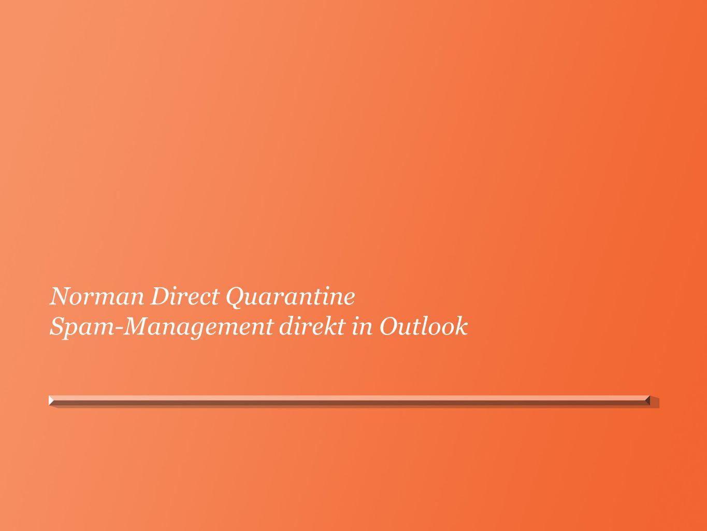 Norman Direct Quarantine Spam-Management direkt in Outlook