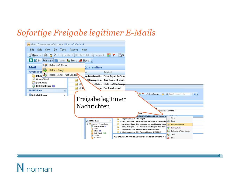 Sofortige Freigabe legitimer E-Mails Freigabe legitimer Nachrichten