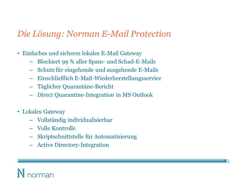 Die Lösung: Norman E-Mail Protection Einfaches und sicheres lokales E-Mail Gateway – Blockiert 99 % aller Spam- und Schad-E-Mails – Schutz für eingehende und ausgehende E-Mails – Einschließlich E-Mail-Wiederherstellungsservice – Täglicher Quarantäne-Bericht – Direct Quarantine-Integration in MS Outlook Lokales Gateway – Vollständig individualisierbar – Volle Kontrolle – Skriptschnittstelle für Automatisierung – Active Directory-Integration