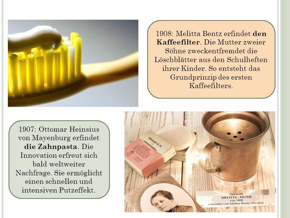 1907: Ottomar Heinsius von Mayenburg erfindet die Zahnpasta. Die Innovation erfreut sich bald weltweiter Nachfrage. Sie ermöglicht einen schnellen und
