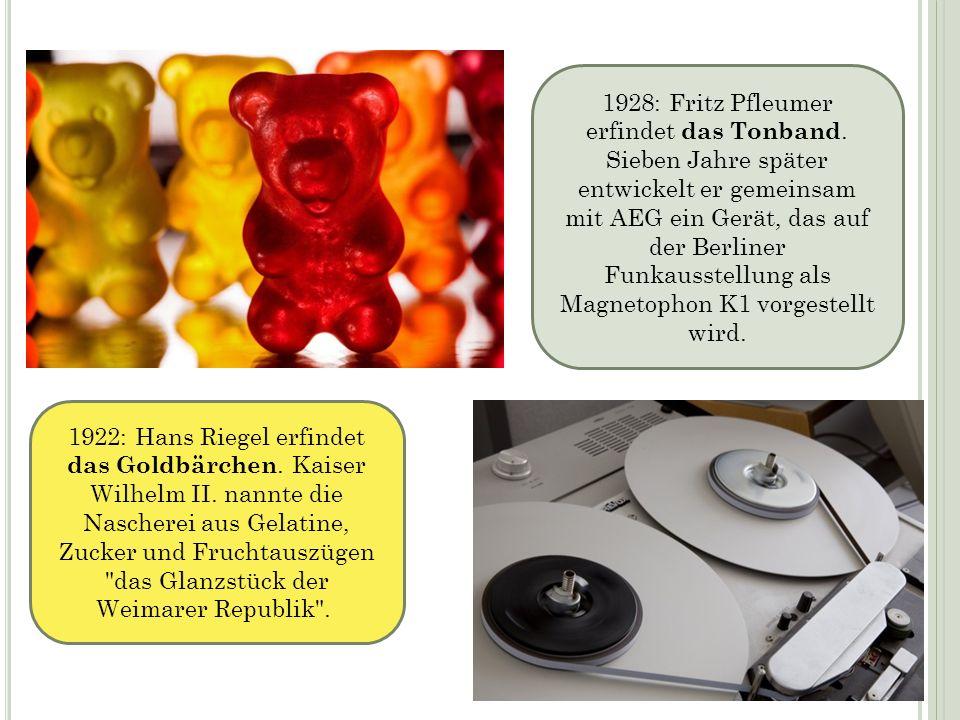 1922: Hans Riegel erfindet das Goldbärchen. Kaiser Wilhelm II. nannte die Nascherei aus Gelatine, Zucker und Fruchtauszügen
