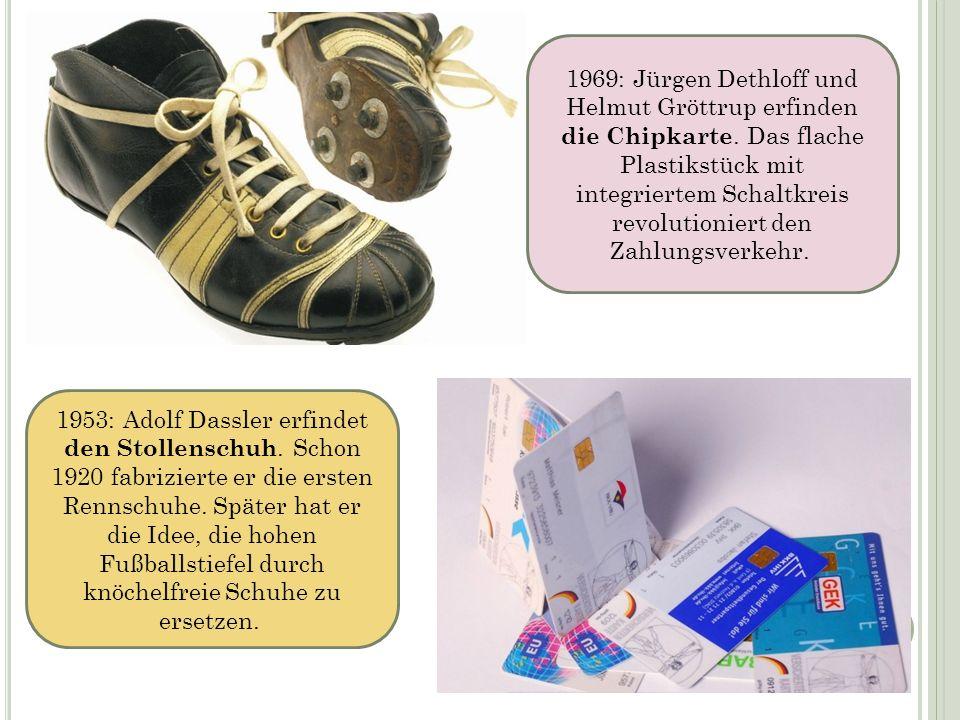 1953: Adolf Dassler erfindet den Stollenschuh. Schon 1920 fabrizierte er die ersten Rennschuhe. Später hat er die Idee, die hohen Fußballstiefel durch