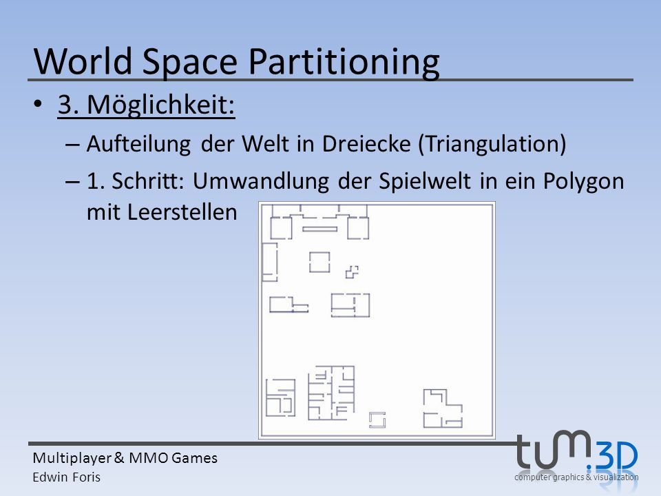 computer graphics & visualization Multiplayer & MMO Games Edwin Foris World Space Partitioning 3. Möglichkeit: – Aufteilung der Welt in Dreiecke (Tria