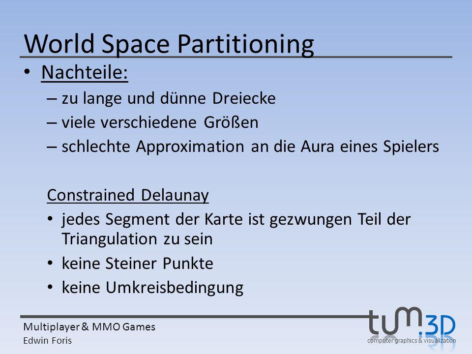 computer graphics & visualization Multiplayer & MMO Games Edwin Foris World Space Partitioning Nachteile: – zu lange und dünne Dreiecke – viele versch