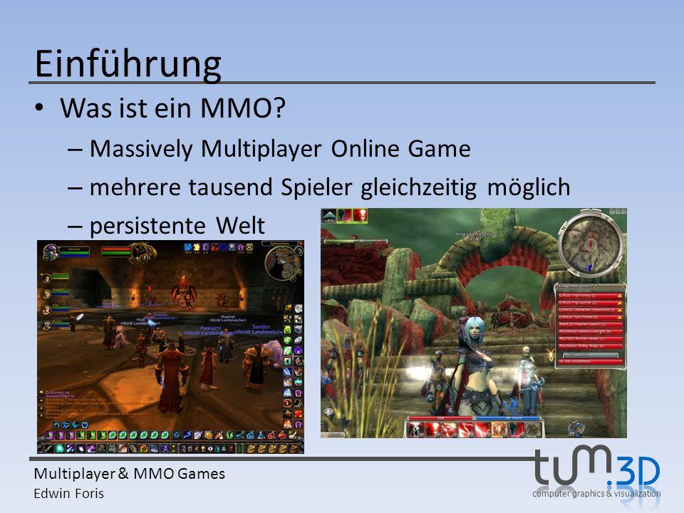 computer graphics & visualization Multiplayer & MMO Games Edwin Foris Einführung Was ist ein MMO? – Massively Multiplayer Online Game – mehrere tausen