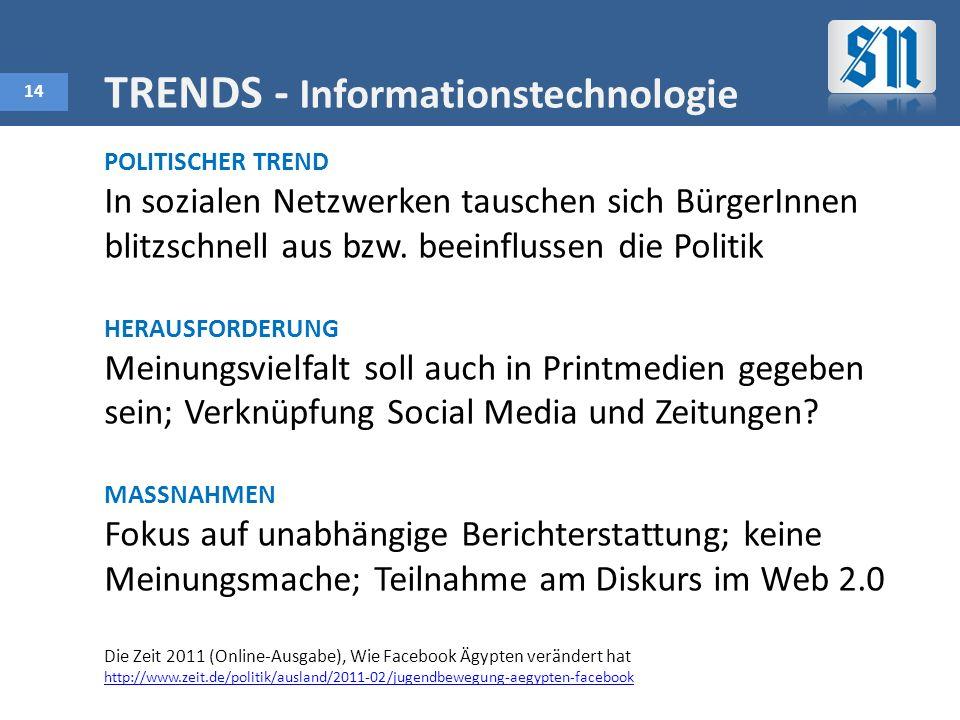 14 TRENDS - Informationstechnologie POLITISCHER TREND In sozialen Netzwerken tauschen sich BürgerInnen blitzschnell aus bzw.