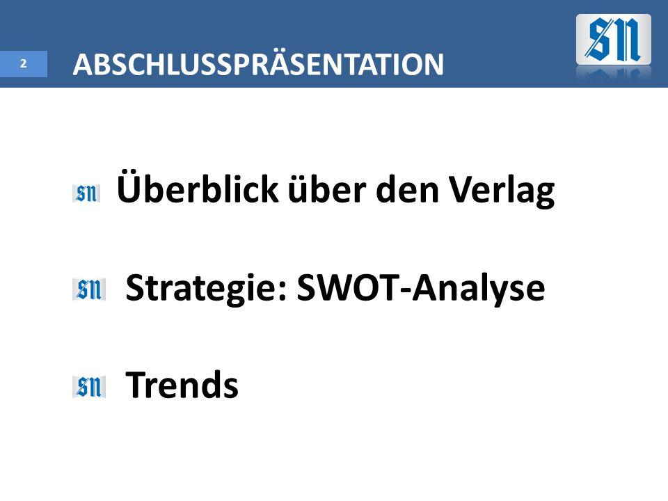 2 ABSCHLUSSPRÄSENTATION Überblick über den Verlag Strategie: SWOT-Analyse Trends